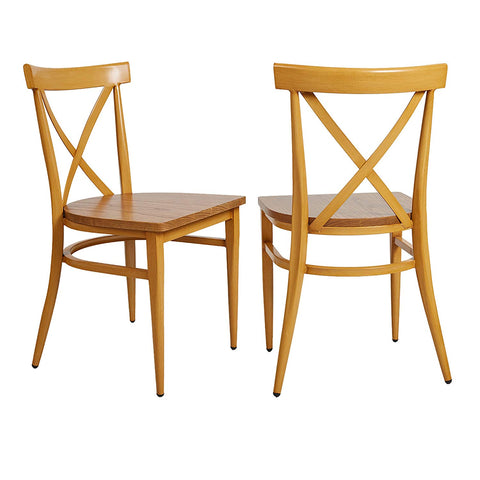 Bosonshop Stackable Side Chairs with Solid Wood Seat&Sturdy Metal Legs, Yellow