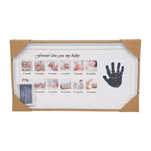 Bosonshop Baby Handprint Kit & Footprint Photo Frame for Newborn Girls and Boys, White