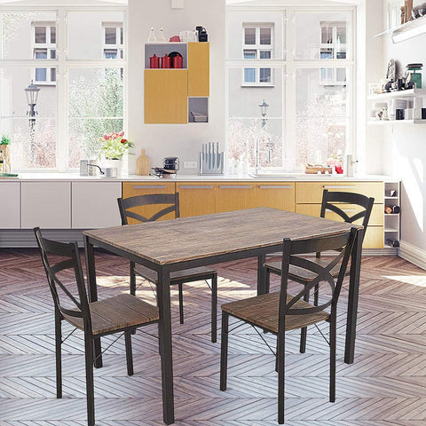 Bosonshop 5-Piece Dining Set Industrial Style with Metal Legs, Wooden