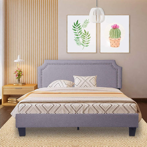 "54"" Upholstered Full Size Bed Frame with Headboard Wood Slat Support Metal Frame Heavy Duty Platform Bed Frame for Bedroom"