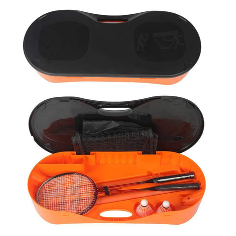 Portable Badminton Net Set Storage Box Base with 2 Battledores 2 Shuttlecocks Large, Orange