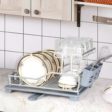 "Dish Drying Rack with 360° Swivel Drain Board and Drain Spout, Grey (21"" x 15"" x 10.6"")"