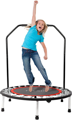 "40"" Foldable Mini Trampoline, Fitness Rebounder with Foam Handle, Exercise Trampoline for Kids Adults Indoor/Garden Workout"