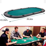 Bosonshop Folding Texas Poker Table Top Casino Game for 10 Players Green