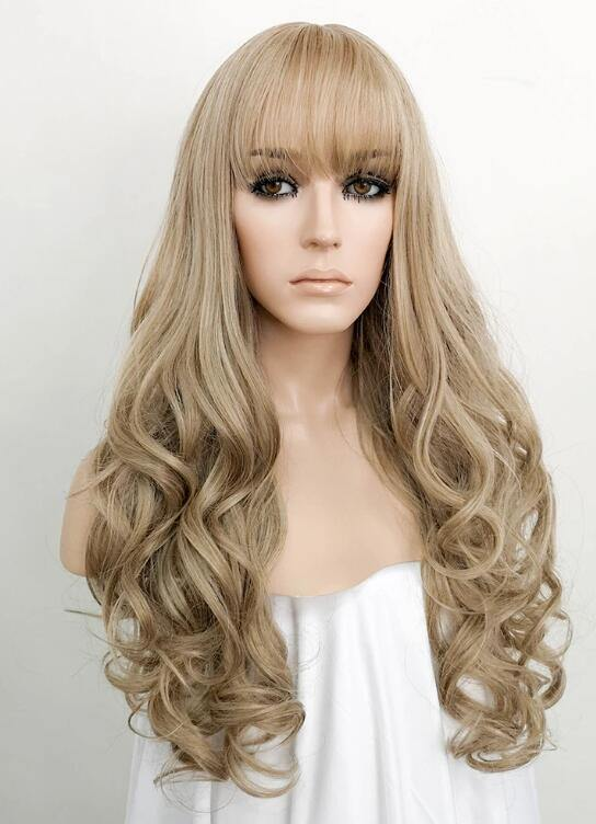 Ash Blonde Wavy Synthetic Wig Bosonshop