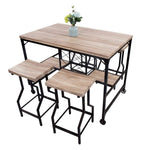 Bosonshop 5-Piece Dining Table Set with Metal Legs, Industrial Style