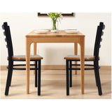 Bosonshop 2 Packs Ladder Back Dining Chairs Metal Leg Side Chairs with Wood Seat, Black