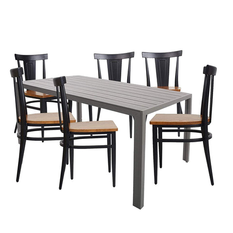 Bosonshop Dining Table Set, 6 Chairs with 1 Aluminum Imitation Wooden Table