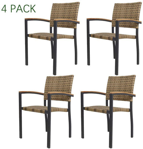 Bosonshop Dining Chairs with Armrest Stackable Set of 4 Aluminum Patio Furniture Sets for Living Room Cafe Bar Indoor Outdoor Use (Aluminum&Ratten, Brown)