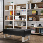 Bosonshop Modern PU Leather Dining Room Bench Upholstered Padded Seat, Black