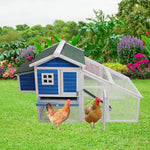 Bosonshop Bunny Hen Cage House Large Chicken Coop, Wooden Pet Home for Small Animals with Run Nest