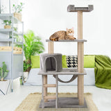 "43.3"" Plush Sturdy Interactive Cat Condo Tower Scratching Post Activity Tree House - Grey"