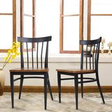 Bosonshop 2 Packs Slat Back Dining Chairs Metal Leg Side Chairs with Wood Seat, Black