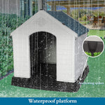 "Large Plastic Outdoor Dog House for Pet Weatherproof Kennel, 35.5""L x 37.5""W x 39""H"