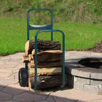 Bosonshop Rolling Wheeled Firewood Log Cart Portable Log Rack with Wheels for Backyard