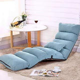 Folding Lazy Sofa Chair Comfortable and Durable Floor Sofa Chair Lounge Chair, Blue
