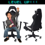 Bosonshop Office Desk Chairs Ergonomic Game Chairs 360°Swivel Style High Back for Great Support Black White