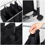 Bosonshop Heavy-Duty 3-Bag Rolling Laundry Sorter Storage Cart, Bag Laundry Organizer with Wheels(Black)