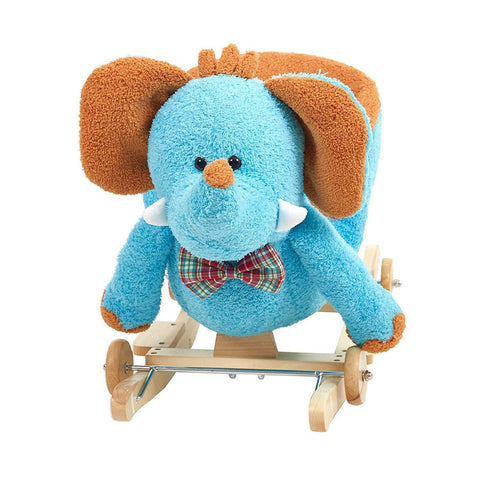 Bosonshop Baby Plush Rocking Horse Wooden Chair Rockers with Wheels,Seat Belt Kid Rocking Horse Chair