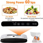 Food Vacuum Sealer Machine Strong Suction Power Dry and Moist Mode Starter Kit for Food Preservation and Sous Vide