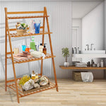 Bosonshop  4-Tier Bamboo Flower Stand Rack Shelf Foldable Pot Planter Display