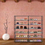 Bosonshop Shoe Rack 6-Tier 36 Pair Shoe Storage Organizer with Dustproof Non-woven Fabric Cover (Gray)