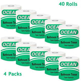 Toilet Paper 100% Recycled 3-Ply Bath Tissue, 4 Packs of 10 Rolls (40 Rolls Total), Super Soft