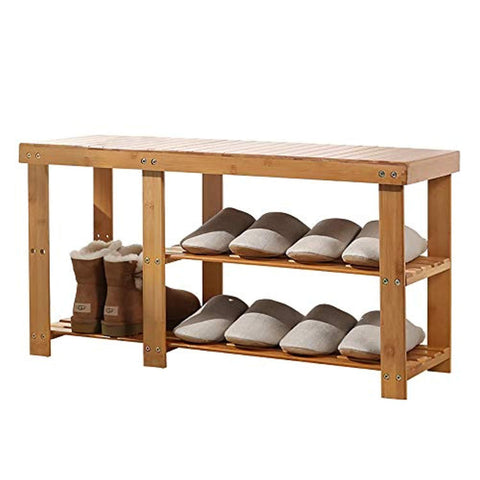 Bosonshop Natural Bamboo Shoe Bench 2-Tier Boot Storage Racks Shelf Footwear Organizer Seat