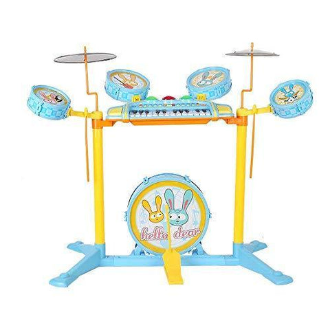 Bosonshop Kid's Musical Instrument Jazz Drum Play Set with 24 Keys Keyboard