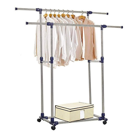 Bosonshop Adjustable Rolling Heavy Duty Garment Rack Double Rail Clothes Rack with Wheels