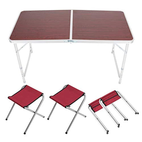 Bosonshop Portable Folding Outdoor Picnic Table, 4 Seats, Adjustable Camping Suitcase Table Set
