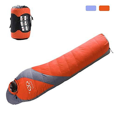Bosonshop 90% Duck Down Winter Thicken Puffy Mummy Sleeping Bag for Camping