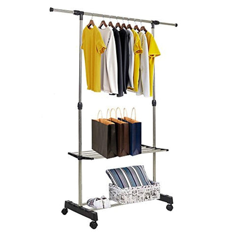 Bosonshop Clothes Rack Adjustabale Single Garment Rack With Shelves With Wheels Black