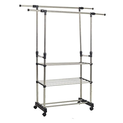 Bosonshop Adjustable 3-Tier Double rails Colthes Hanging Rack Folding Garment Rack With Wheels and Shelf