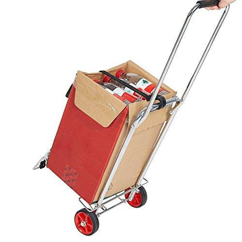 Bosonshop Aluminum Folding Hand Truck Multi-Use Cart for Luggage, with Wheels, 55 lbs(Black)