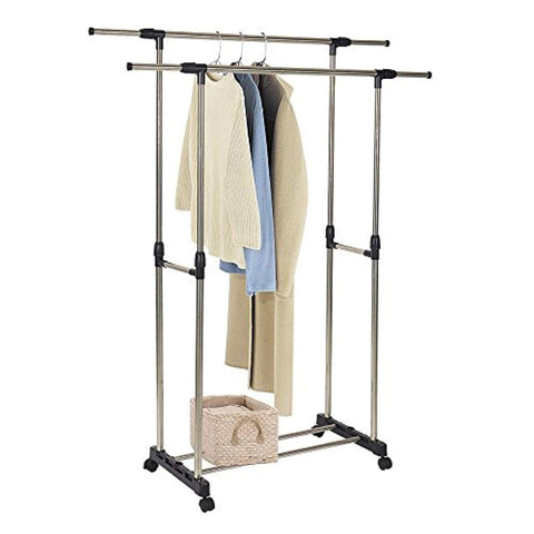 Bosonshop Adjustable Double Rail Heavy Duty Garment Rack Clothes Rack with Wheels Free Standing Black