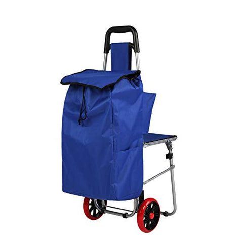 Bosonshop 2 in 1 Folding Shopping Cart with Built-in Seat,Utility Cart on Wheels for Grocery