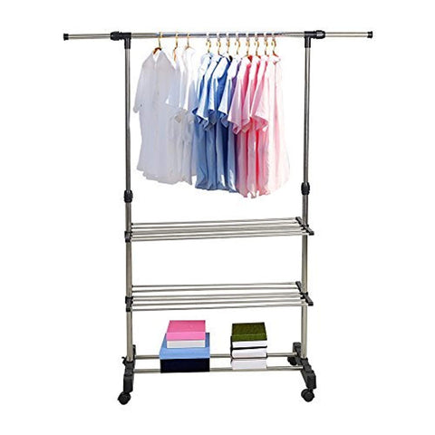Bosonshop Single Rail Adjustable Clothes Rack Hanging Rack With Wheels and Shelves