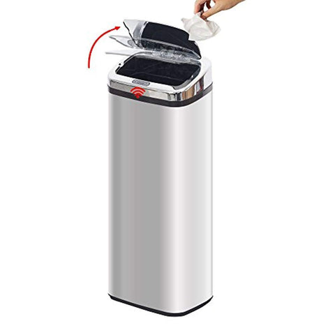 Bosonshop Automatic 13 Gallon Touchless Trash Can Garbage Bin, Stainless Steel