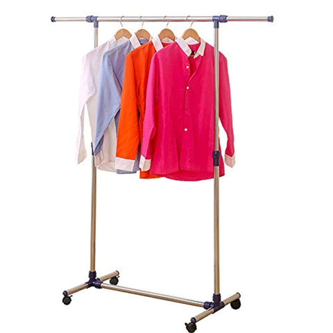 Bosonshop Rolling Clothes Rack Adjustable Garment Rack