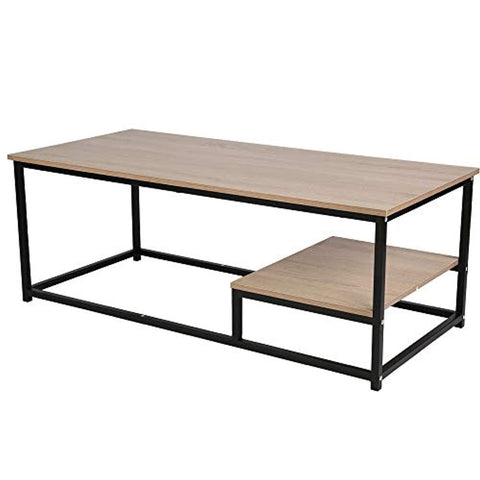 Bosonshop Coffee Table Nordic Style Rectangular Cocktail Table Wood Top Black Metal Box Frame with Storage Shelf