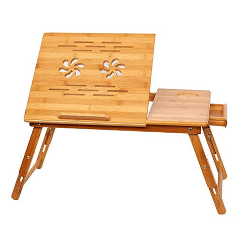Bosonshop Adjustable Bamboo Laptop Desk Foldable Breakfast Table with Tilting Top Drawer,Eco Friendly