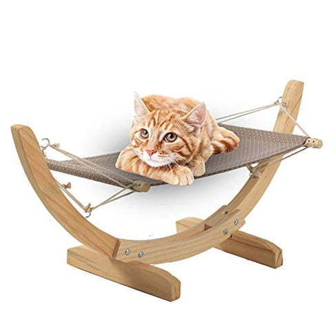 Bosonshop Cat Hammock Bed Wood Comfortable Hanging Lounger for Cats and Small Dogs