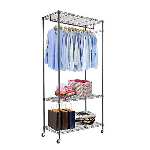 Bosonshop 3-Tier Portable Wire Shelving Garment Rack with Wheels, Black