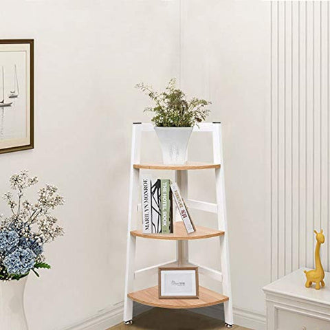 Bosonshop 3-Tier Wood Free Standing Corner Shelf with Metal Frame Oak&White