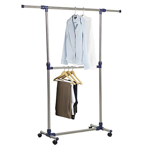 Bosonshop Single Rail Adjustable Clothes rack Lightweight Sturdy Hanging Garment Rack With Wheels