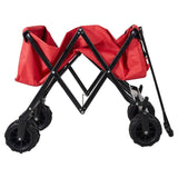 Bosonshop Outdoor Collapsible Folding Utility Beach Wagon Sports Storage Cart Sturdy Steel Frame