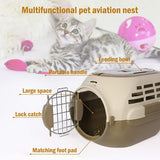 Pet Travel Cage Pet Hard-Side Carrier Plastic Pet Travel Kennel for Dog, Easy Assembly Pet Airline Box Portable Cage
