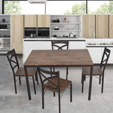Bosonshop 5-Piece Dining Table Set Industrial Style with Metal Legs, Wooden