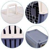 Bosonshop Plastic Cat & Dog Carrier Cage with Chrome Door Portable Pet Box Airline Approved